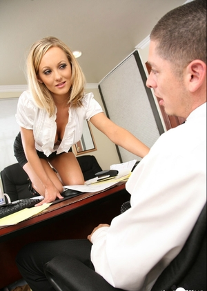Blonde secretary earns promotion by tempting boss into rectal sex on table