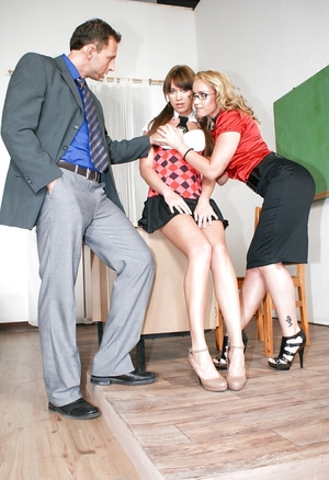 Middle-aged teacher gets down and plus dirty erotically attractive blonde colleague and plus schoolgirl in the asses