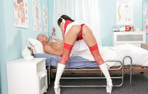 Big-breasted nurse in red lingerie tempts bald patient into spontaneous sex