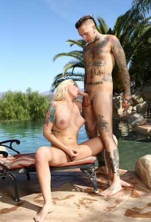 Cute blonde ladyboy Aubrey Kate banged in the bum on the sun lounger