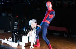 Spider-man makes love platinum blonde villain in latex showing why he is a superhero