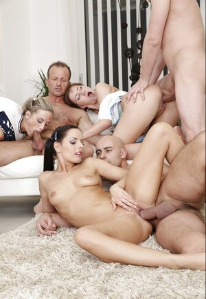 Fabulous real hardcore orgy with young broads with dp and moreover cum on face scenes