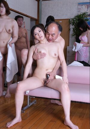 Lascivious old guys have arsenal of Japanese sex dolls ready to make love in the sauna